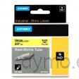 Dymo RHINO 18058 heat shrink tubing black on yellow 19mm