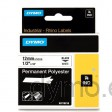 Dymo RHINO 18483 permanent polyester black on white 12mm