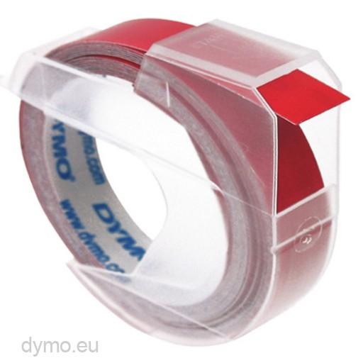 Dymo 3D reliëftape, wit op rood, 9mm x 3 m, doos van 10 rol