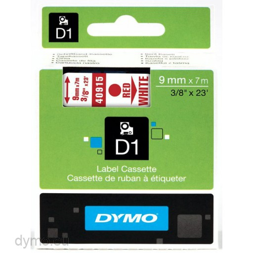 Dymo S0720700 D1 40915 Tape 9mm x 7m Red on White
