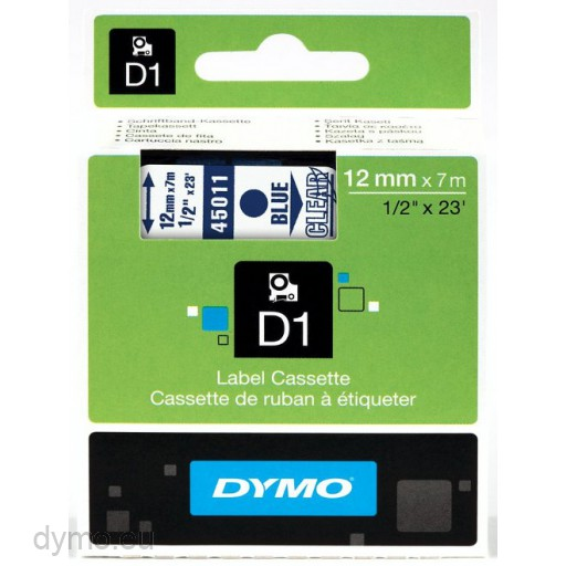 Dymo S0720510 D1 45011 Tape 12mm x 7m Blue on Clear