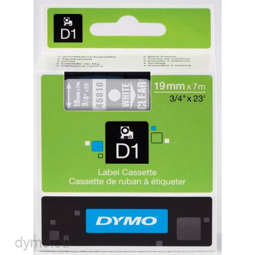Dymo S0720900 D1 45810 Tape 19mm x 7m White on Transparent
