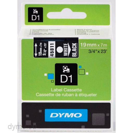 Dymo S0720910 D1 45811 Tape 19mm x 7m White on Black