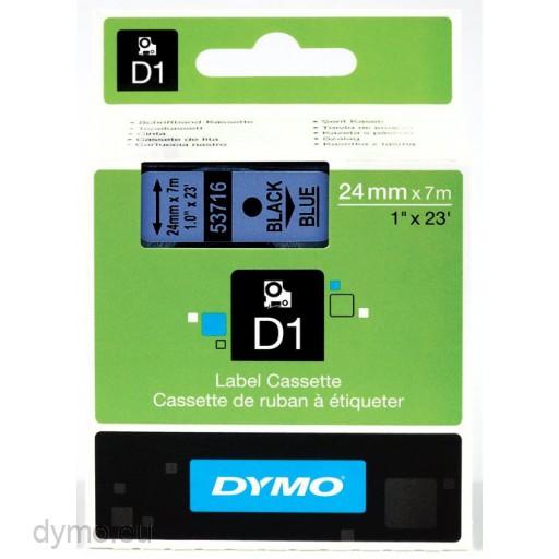 Dymo S0720960 D1 53716 Tape 24mm x 7m Black on Blue