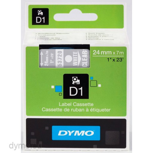 Dymo S0721000 D1 53720 Tape 24mm x 7m White on Transparent - NO LONGER AVAILABLE
