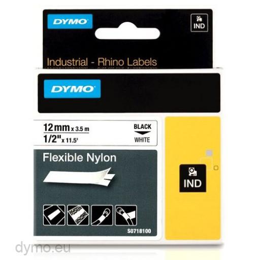 Dymo RHINO 18488 flexible nylon tape black on white 12mm