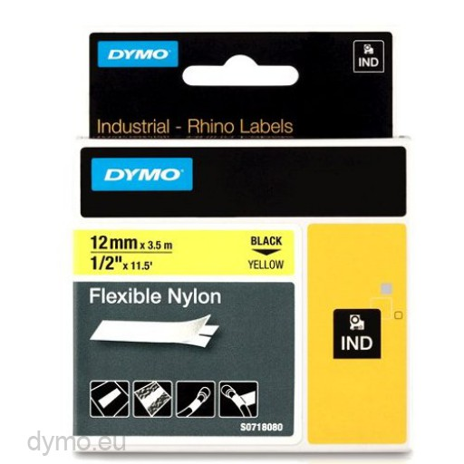 Dymo RHINO 18490 flexible nylon black on yellow 12mm