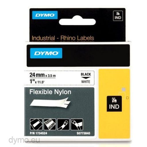 Dymo RHINO 1734524 flexible nylon black on white 24mm