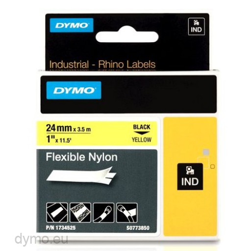 Dymo RHINO 1734525 flexible nylon tape black on yellow 24mm