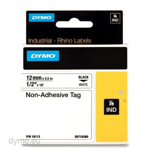 Dymo RHINO 18113 Non-adhesive tag black on white 12mm