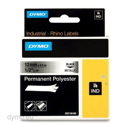 Dymo RHINO 18486 permanent polyester black on metallic 12mm