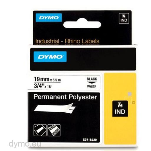 Dymo RHINO 18484 permanent polyester black on white 19mm