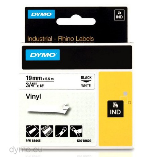 Dymo RHINO 18445 vinyl black on white 19mm