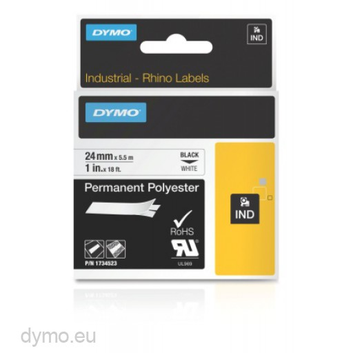 Dymo RHINO 1734523 permanent polyester black on white 24mm