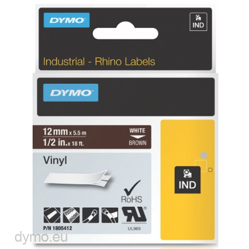 Dymo RHINO 1805412 vinyl white on brown 12mm