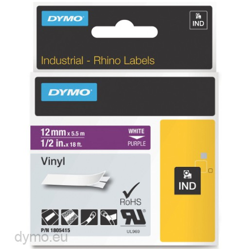 Dymo RHINO 1805415 vinyl white on purple 12mm