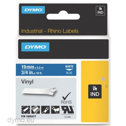 Dymo RHINO 1805417 vinyl white on blue 19mm
