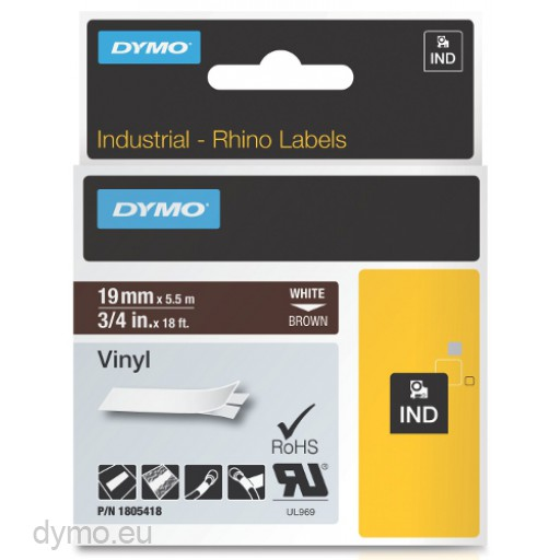 Dymo RHINO 1805418 vinyl white on brown 19mm