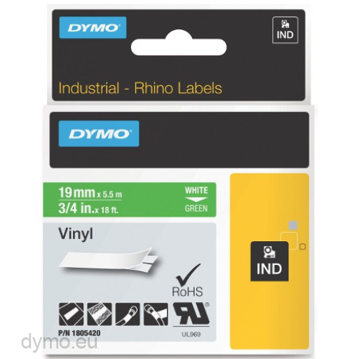 Dymo RHINO 1805420 vinyl white on green 19mm