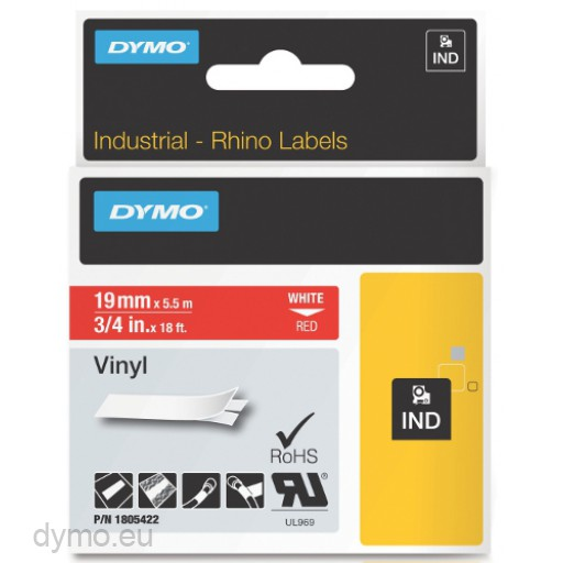 Dymo RHINO 1805422 vinyl white on red 19mm