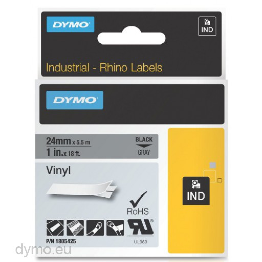 Dymo RHINO 1805425 vinyl black on grey 24mm