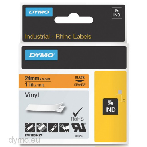 Dymo RHINO 1805427 vinyl black on orange 24mm