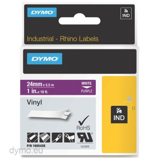 Dymo RHINO 1805428 vinyl white on purple 24mm