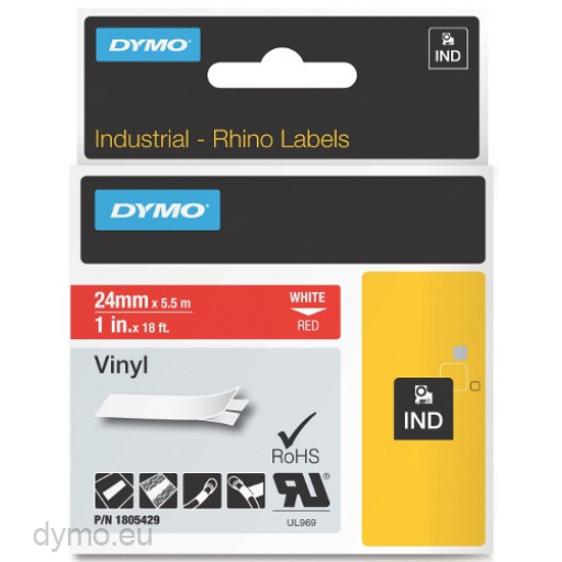 Dymo RHINO 1805429 vinyl white on red 24mm