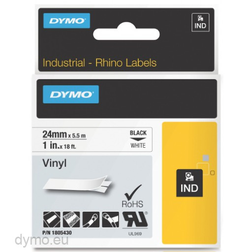Dymo RHINO 1805430 vinyl black on white 24mm