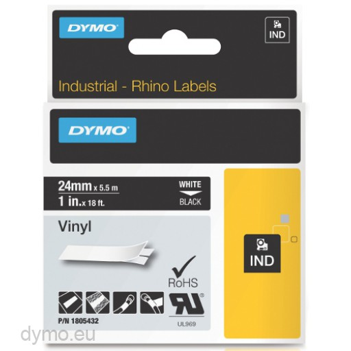 Dymo RHINO 1805432 vinyl white on black 24mm