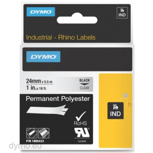 Dymo RHINO 1805433 permanent polyester black on clear 24mm