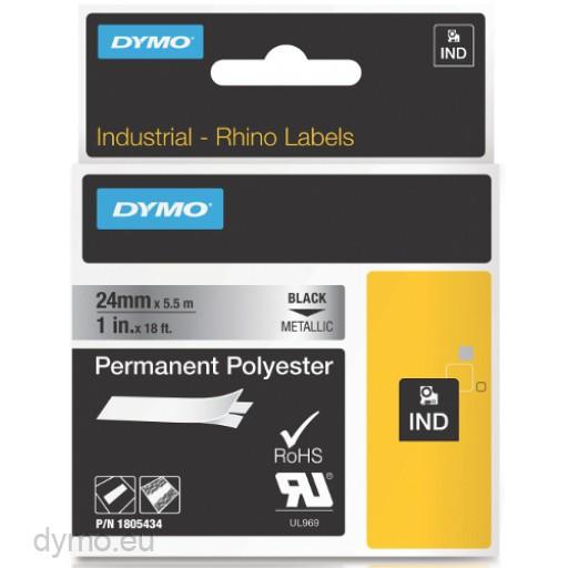 Dymo RHINO 1805434 permanent polyester black on metallic 24 mm