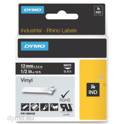 Dymo RHINO 1805435 vinyl white on black 12mm