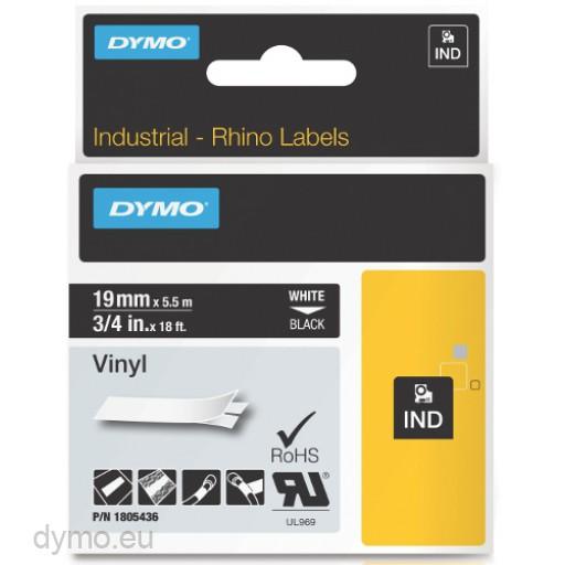 Dymo RHINO 1805436 vinyl white on black 19mm