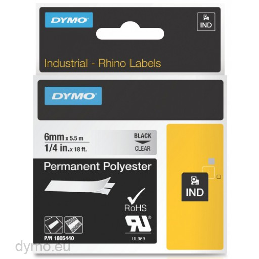 Dymo RHINO 1805440 permanent polyester black on clear 6mm