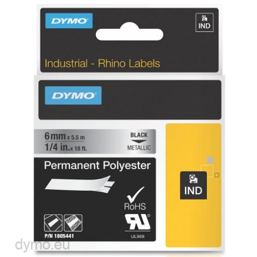 Dymo RHINO 1805441 permanent polyester black on metallic 6mm