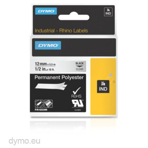 Dymo RHINO 622289 permanent polyester black on clear 12mm