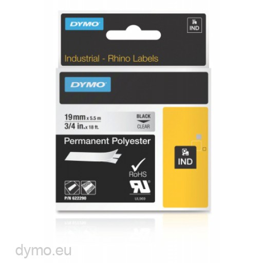 Dymo 622290 RHINO permanent polyester black on clear 19mm