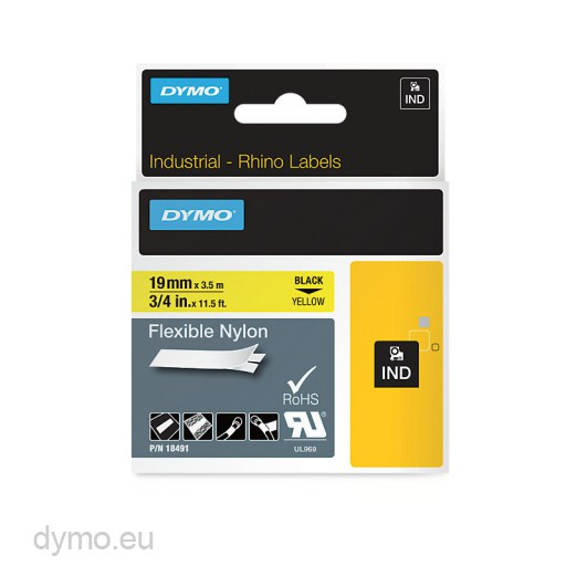 Dymo RHINO 18491 flexible nylon tape black on yellow 19mm