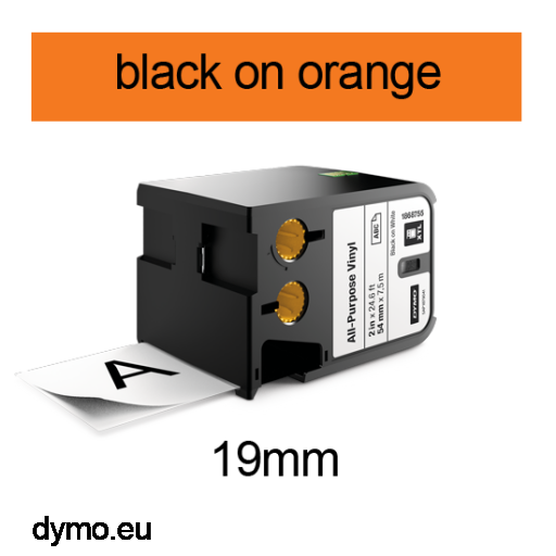 DYMO 1868767 XTL All-Purpose Vinyl 19mm Black on Orange