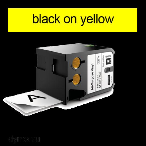 DYMO 1868772 XTL All-Purpose Vinyl 19mm Black on Yellow