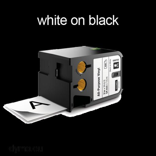 DYMO 1868796 XTL All-Purp Vinyl 12mm White on Black