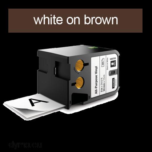 DYMO 1868788 XTL All-Purp Vinyl 24mm White on Brown