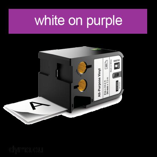 DYMO 1868795 XTL All-Purp Vinyl 54mm White on Purple