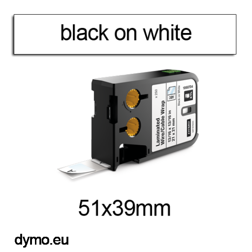 DYMO 1868711 XTL Cable Wrap 51x39mm Black on White