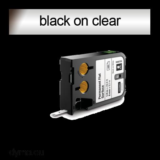 DYMO 1868738 XTL Permanent Flat 6mm Black on Clear