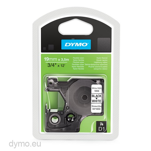 Dymo S0718050 D1 16958 Flexible Nylon Tape 19mm x 3,5m Black on White