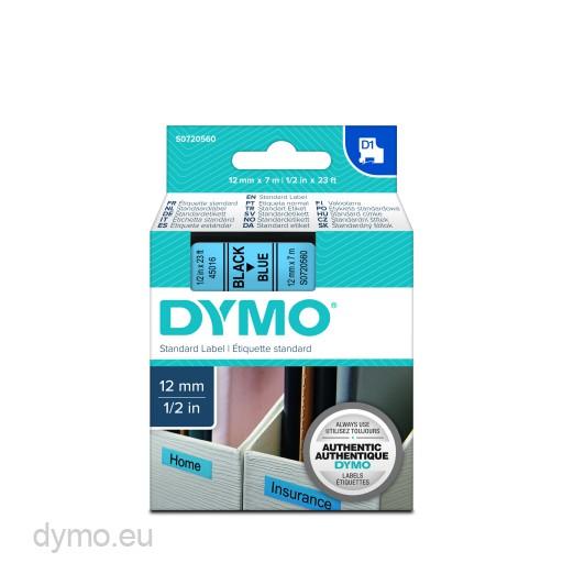 Dymo S0720560 D1 45016 Tape 12mm x 7m Black on Blue