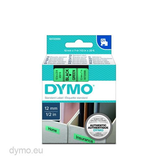 Dymo S0720590 D1 45019 Tape 12mm x 7m Black on Green