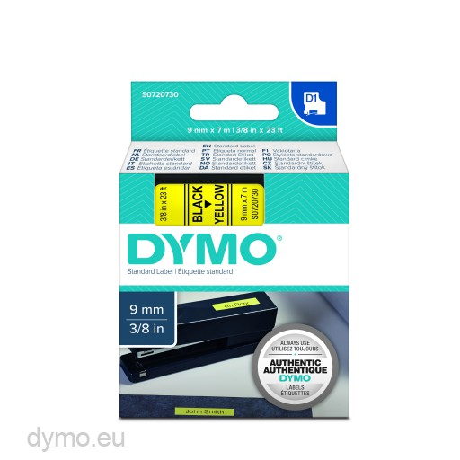 Dymo S0720730 D1 40918 Tape 9mm x 7m Black on Yellow